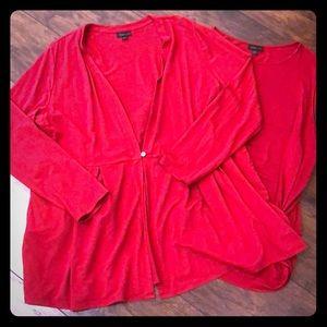 EUC J.Jill sleeveless tank & stretch button jacket